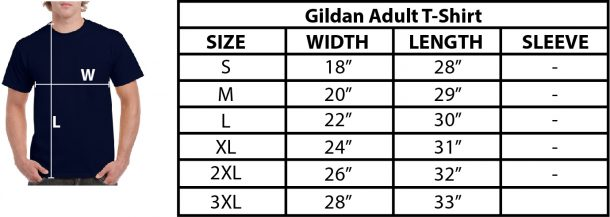Image is a sizing chart for choosing T-shirt sizes.