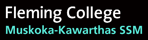 A Fleming College Muskoka Kawartha Service System Manager logo with white and blue text on a black background.