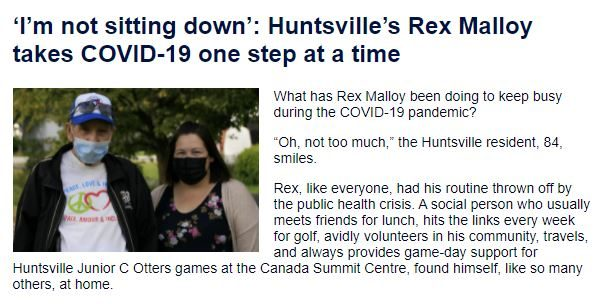 An image of the October 2021 newsletter. Text reads: I'm not sitting down. Huntsville's Rex Malloy takes COVID-19 one step at a time.
